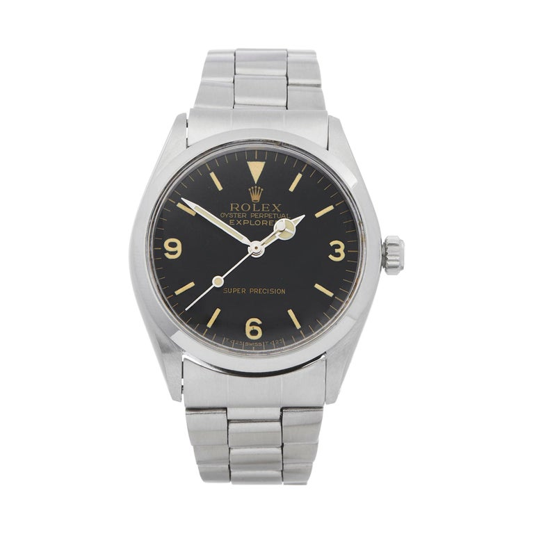 Rolex Explorer I Double Stamped T25 Stainless Steel 5500 For Sale