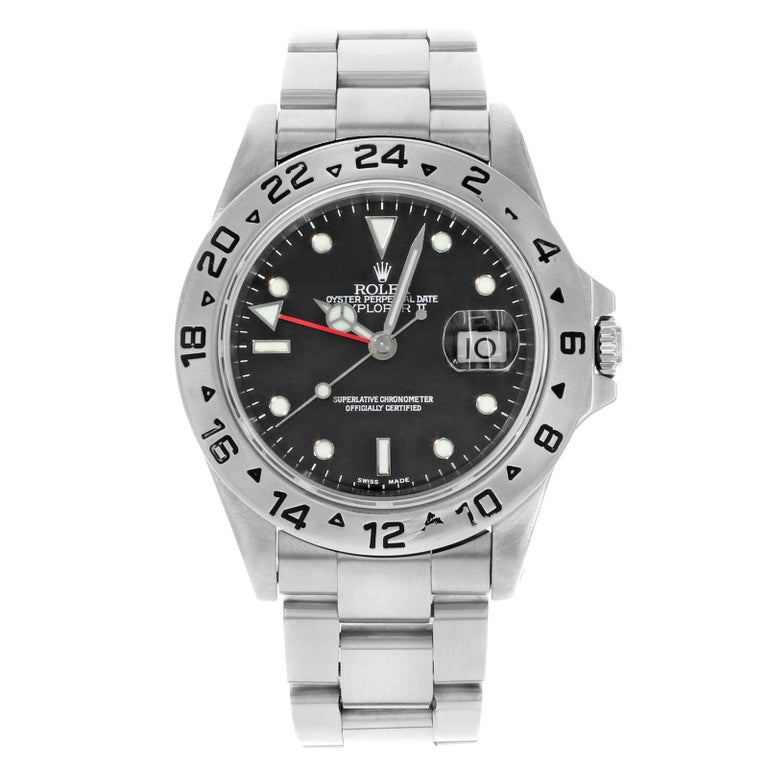 Rolex Explorer II 16570 Black Dial 1999 Stainless Steel Automatic Men's Watch For Sale