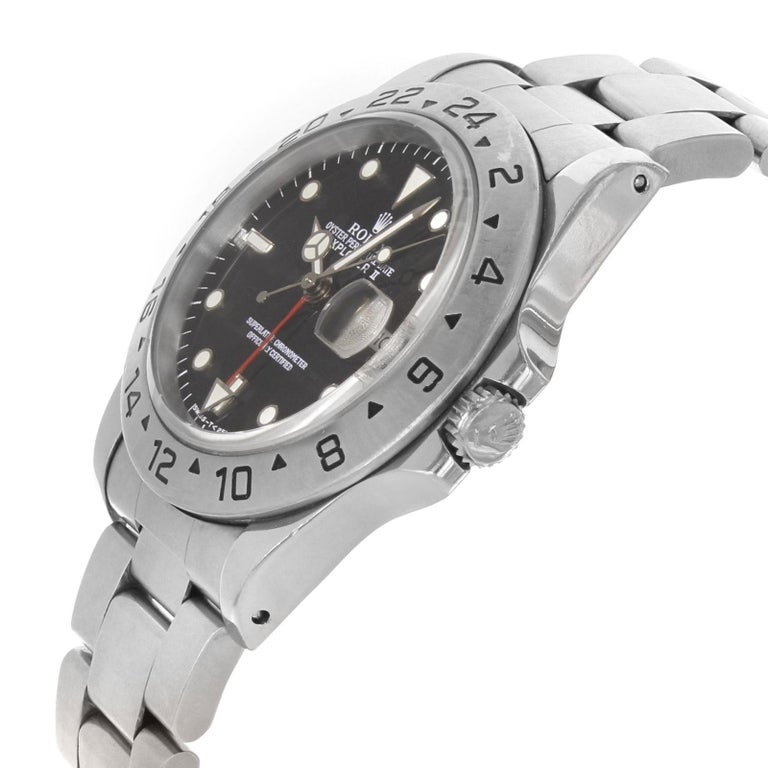 Rolex Explorer II 16570 GMT Black Dial Holes 1996 Steel Automatic Men's Watch In Good Condition For Sale In New York, NY