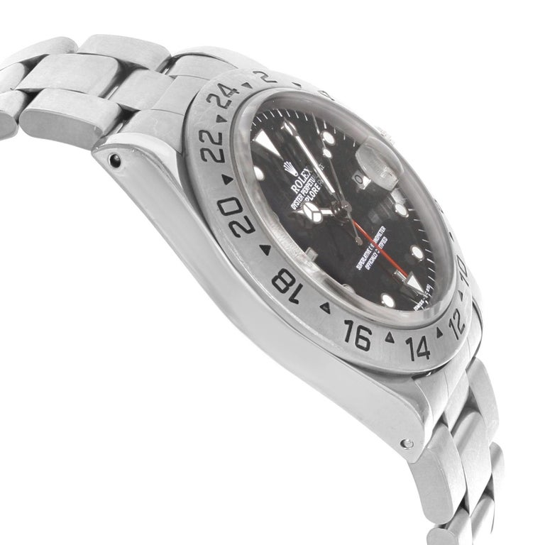 Rolex Explorer II 16570 GMT Black Dial Holes 1996 Steel Automatic Men's Watch For Sale 1