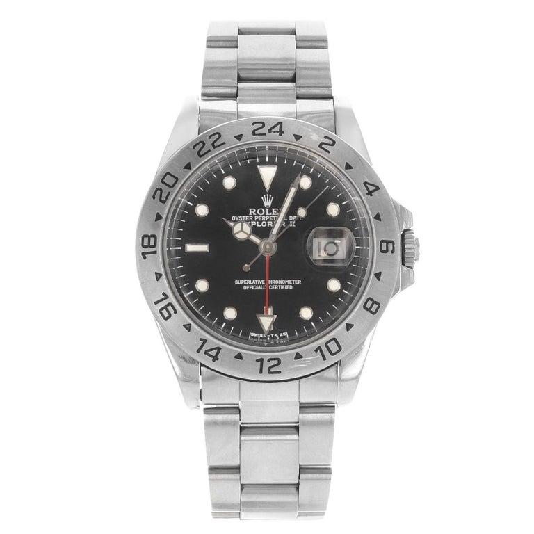 Rolex Explorer II 16570 GMT Black Dial Holes 1996 Steel Automatic Men's Watch For Sale