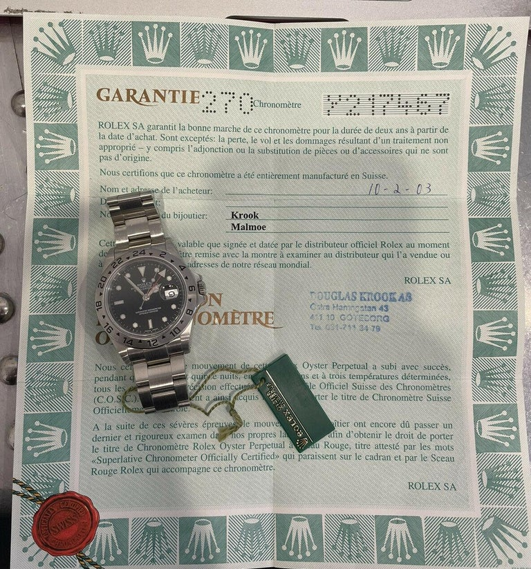 Rolex Explorer II 16570 GMT Stainless Steel Black Dial Watch W/ Papers & Hang Tag   Specifications BrandRolex Model NameExplorer II Model No.16570 GenderUnisex Case Diameter40mm BoxNo PapersYes Condition  Good  Serial Y217XXX