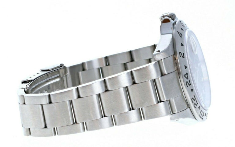 Women's or Men's Rolex Explorer II 16570 GMT Stainless Steel Black Dial Watch W/ Papers For Sale