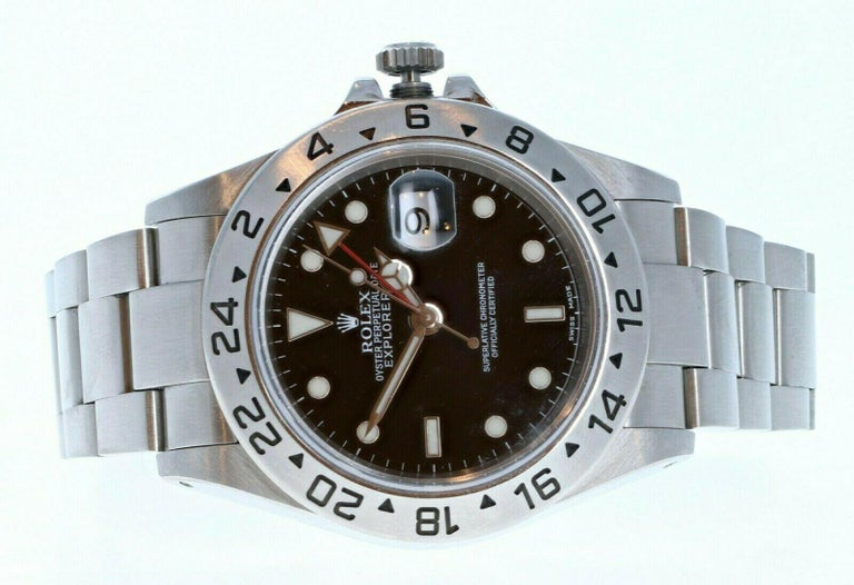 Rolex Explorer II 16570 GMT Stainless Steel Black Dial Watch W/ Papers For Sale 1