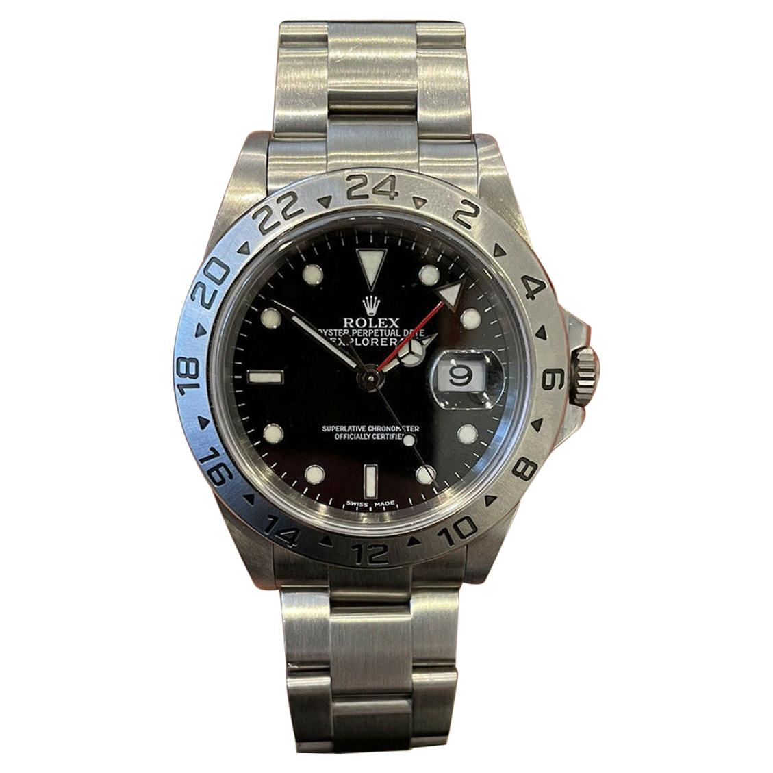 Rolex Explorer II 16570 GMT Stainless Steel Black Dial Watch W/ Papers