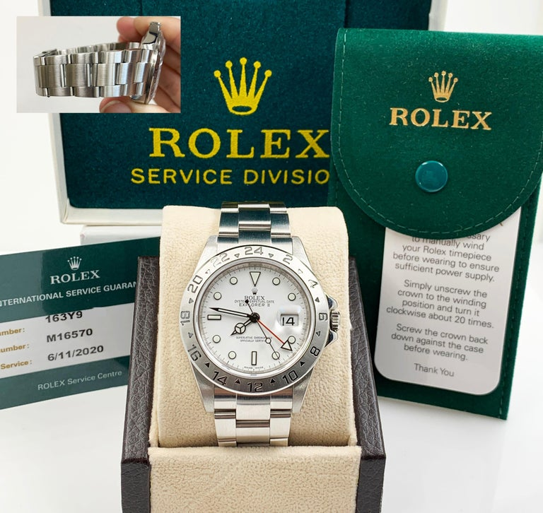 Rolex Explorer II 16570 White Dial Stainless Box Service Paper 2020 Very Rare For Sale 3