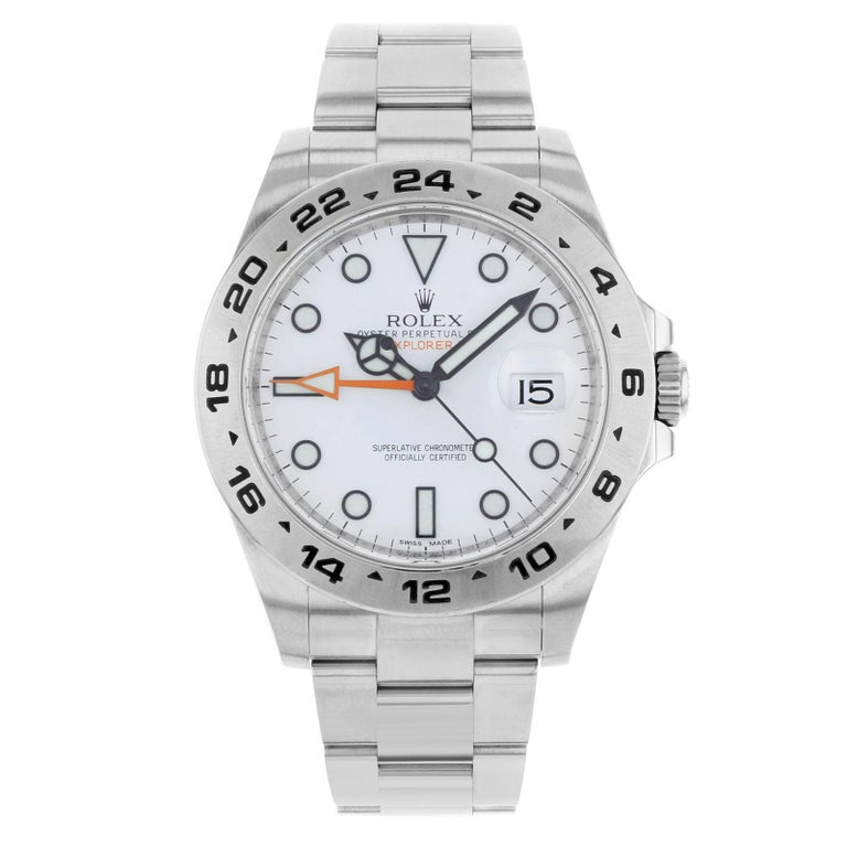 Rolex Explorer II 216570 2012 Card White Dial Date Steel Automatic Men's Watch For Sale