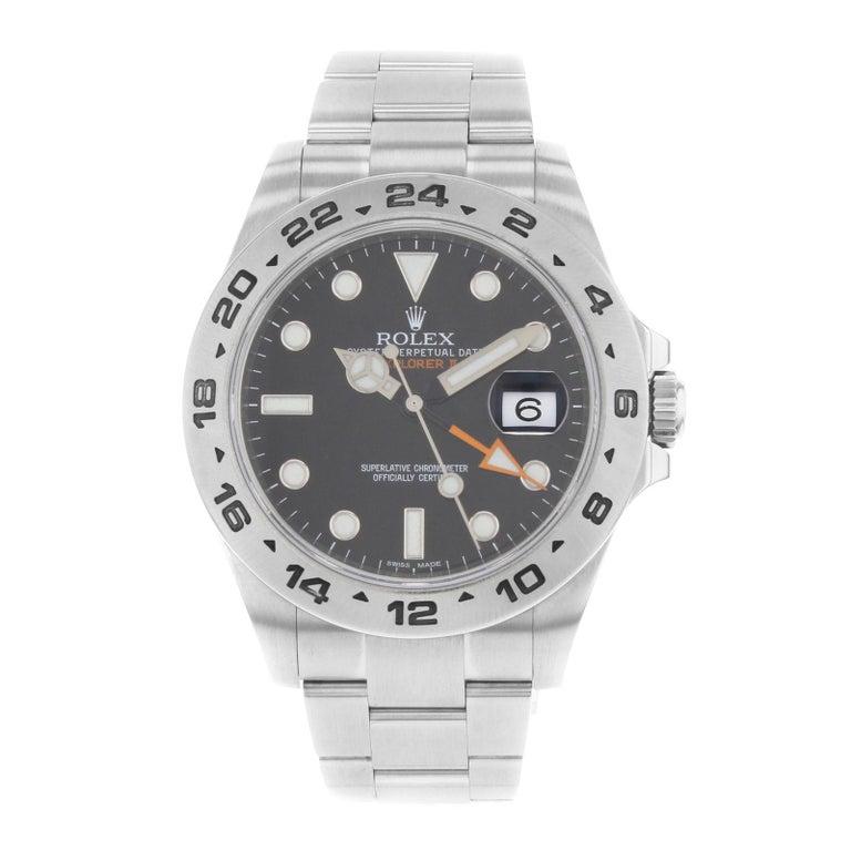 Rolex Explorer II 216570 Black Dial GMT 2010 Steel Automatic Men's Watch For Sale