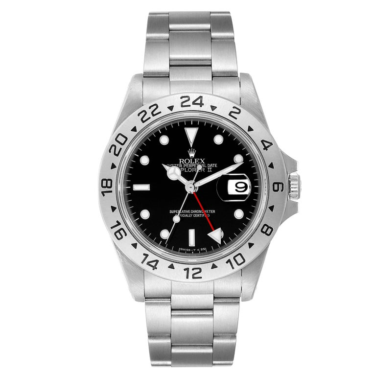Rolex Explorer II Black Dial Automatic Steel Mens Watch 16570. Officially certified chronometer self-winding movement. Stainless steel case 40 mm in diameter. Rolex logo on a crown. Stainless steel bezel. Scratch resistant sapphire crystal with