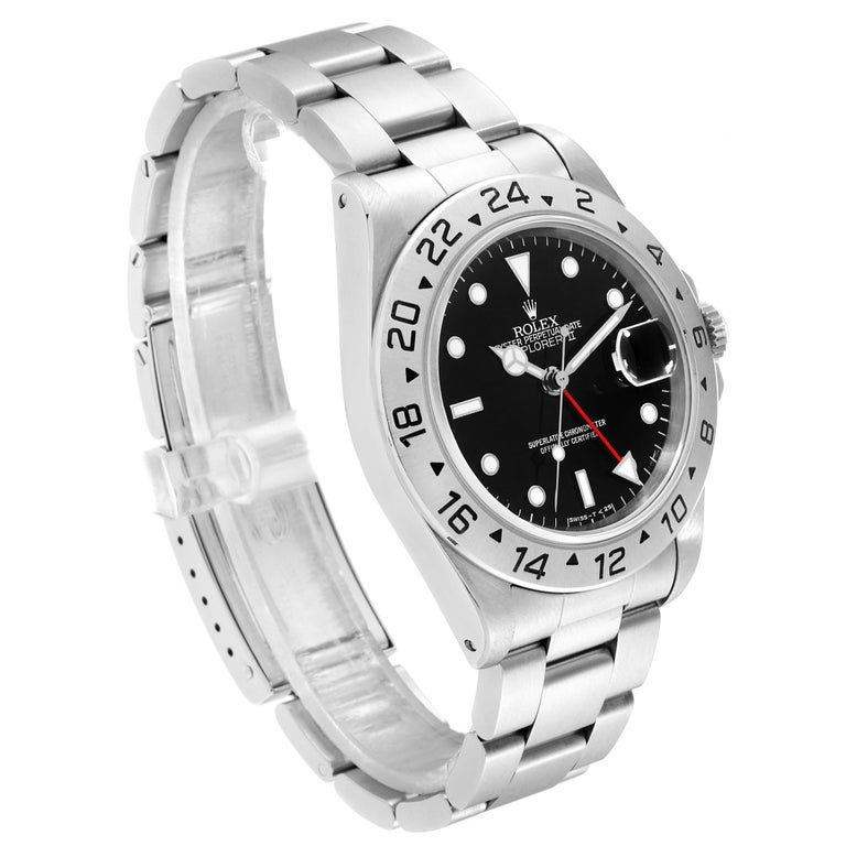 Rolex Explorer II Black Dial Automatic Steel Men's Watch 16570 In Excellent Condition For Sale In Atlanta, GA
