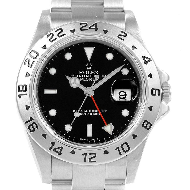 3ea3e86909a Rolex Explorer II Black Dial Parachrom Hairspring Steel Men s Watch 16570  For Sale 1