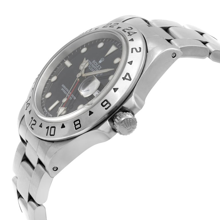 Rolex Explorer II Black Dial Steel Automatic 1998 Men's Watch 16570 In Excellent Condition For Sale In New York, NY