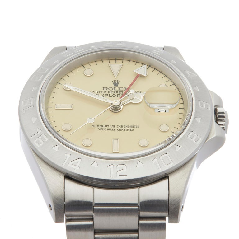 Rolex Explorer II Cream Dial Stainless Steel 16550 In Excellent Condition For Sale In Bishops Stortford, Hertfordshire
