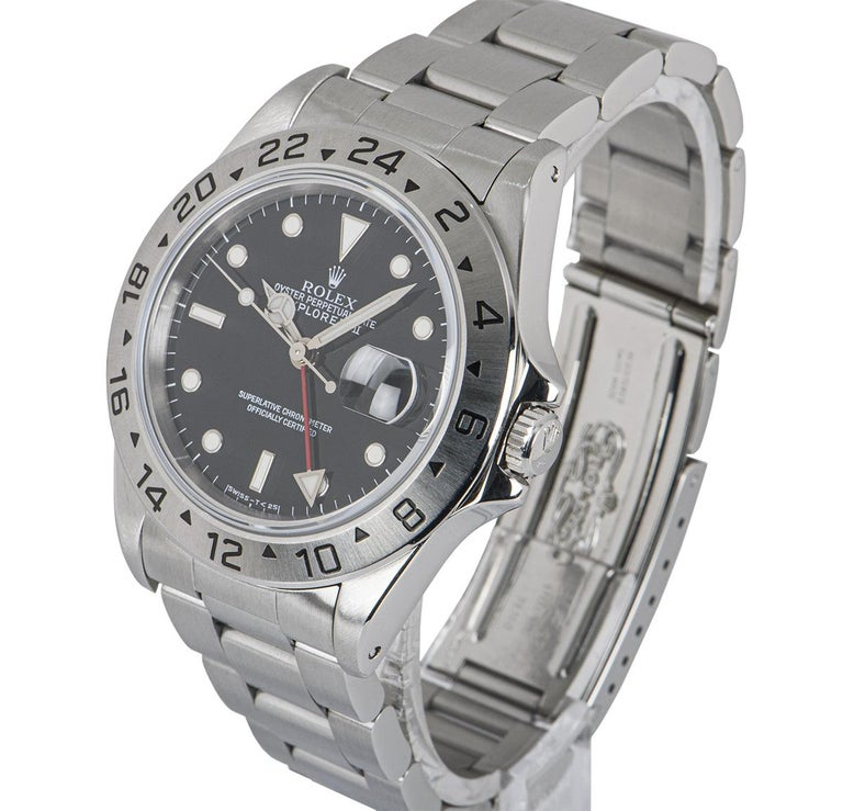 A 40 mm Stainless Steel Oyster Perpetual Explorer II Gents Wristwatch, black dial with applied hour markers, date at 3 0'clock, red time zone hand, a fixed stainless steel bezel with an engraved 24 hour display, a stainless steel oyster bracelet