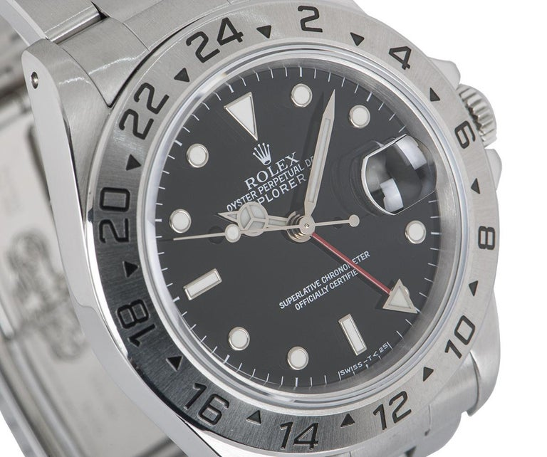 Rolex Explorer II Gents Stainless Steel Black Dial 16570 In Excellent Condition For Sale In London, GB
