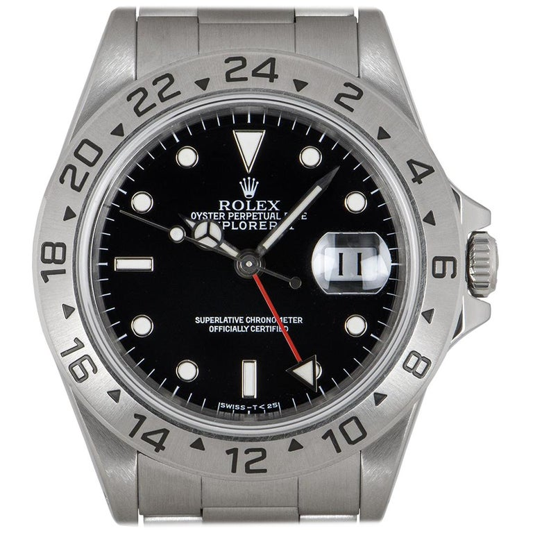 Rolex Explorer II Gents Stainless Steel Black Dial 16570 For Sale