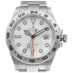 Rolex Explorer II GMT Steel White Dial Orange Hand Automatic Men Watch 216570WSO
