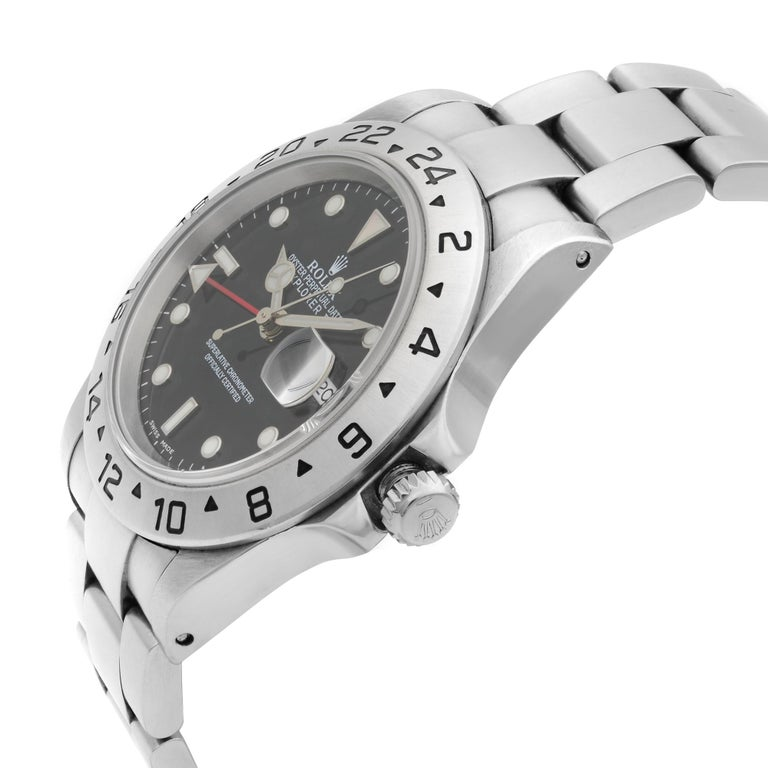 Men's Rolex Explorer II Steel GMT Black Dial Oyster Band Automatic Men's Watch 16570 For Sale
