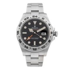 Rolex Explorer II Steel GMT Orange Hand Black Dial Automatic Men's Watch 216570