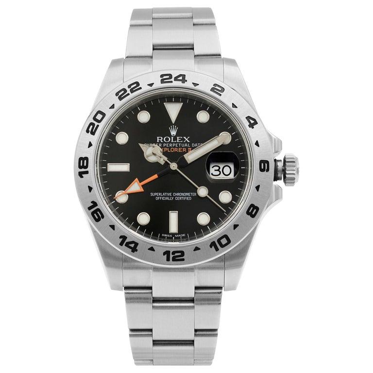 Rolex Explorer II Steel Orange Hand Black Dial Automatic Men's Watch 216570 For Sale