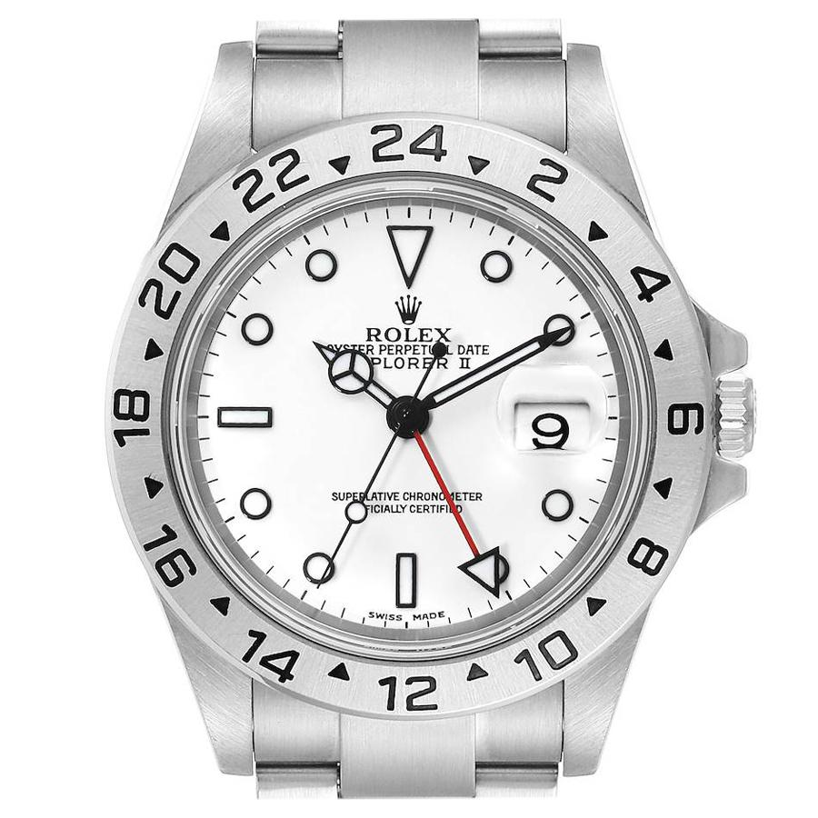 Rolex Explorer II White Dial Steel Men's Watch 16570 Box Papers