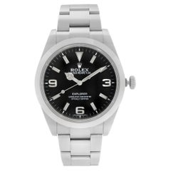 Rolex Explorer Steel Black Dial Automatic Oyster Smooth Mens Watch 214270