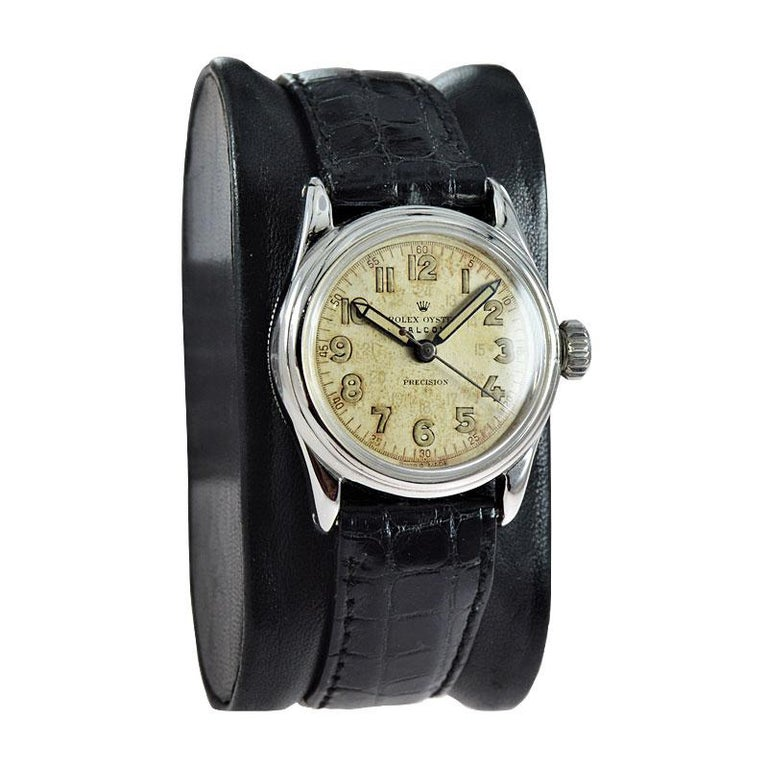Art Deco Rolex Falcon Stainless Steel with Original Dial and Hands from 1944 or 1945 For Sale
