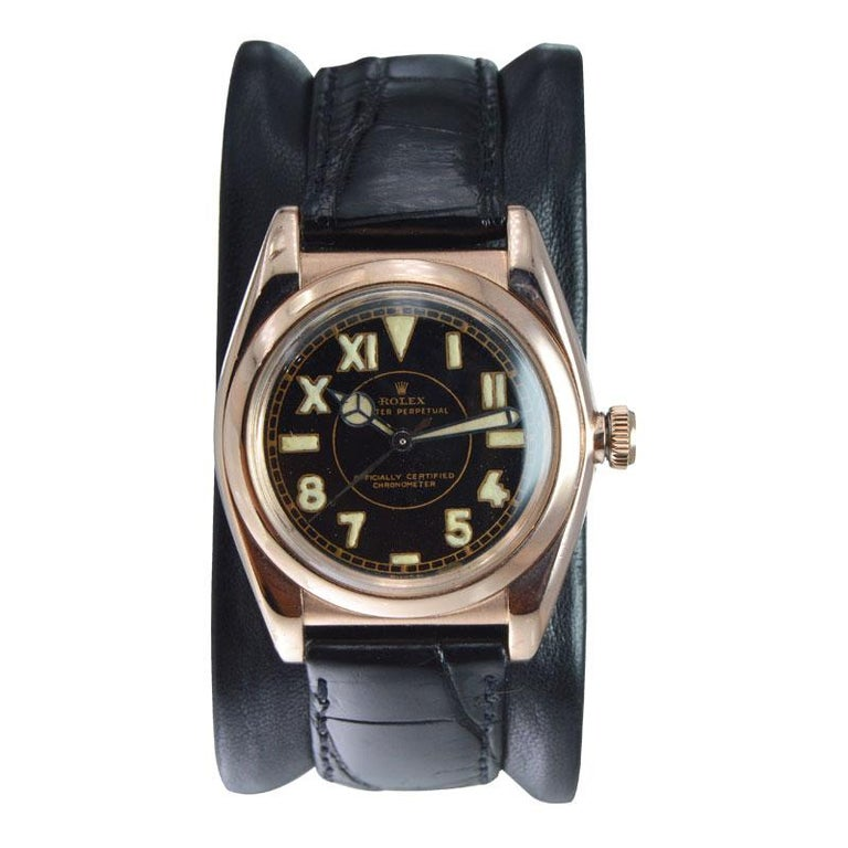 Rolex Gold and Steel Tropical Series with California Romabic Dial from 1940s In Excellent Condition For Sale In Venice, CA