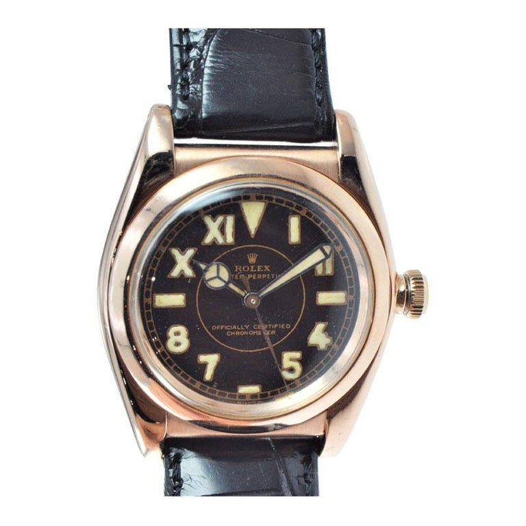 Rolex Gold and Steel Tropical Series with California Romabic Dial from 1940s For Sale 2