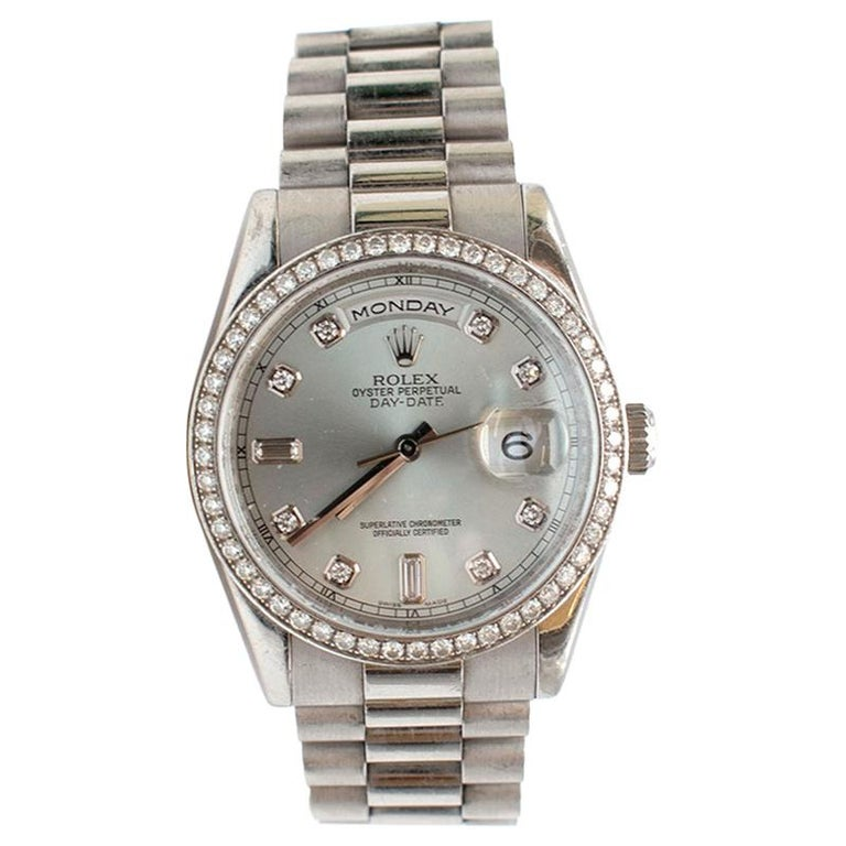 Rolex Platinum Day-Date 36 Watch - Bezel - Glacier Blue Diamond Dial   Date - Circa 2000 - Model No: 118346 - Platinum presidential bracelet with deployant clasp. - 36mm platinum case - bezel set with 52 diamonds - glacier blue dial - 8 round and 2