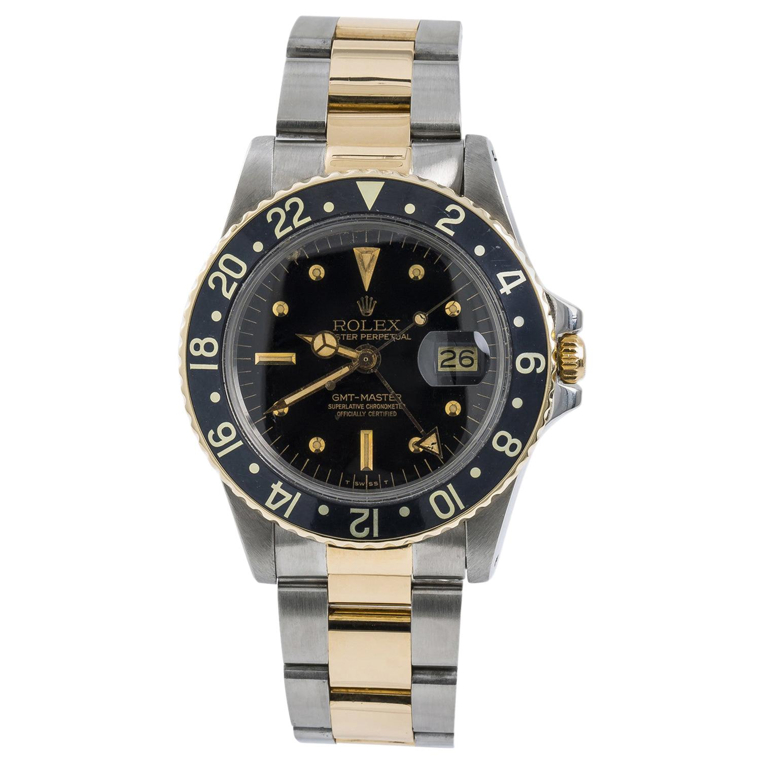 Rolex GMT-Master 1675 Nipple Dial Men's Automatic Vintage Watch Two Tone