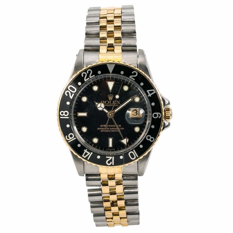 Rolex GMT Master Reference #:16753. Rolex GMT-Master 16753 Vintage Mens Automatic Watch Black Dial Two Tone 40mm. Verified and Certified by WatchFacts. 1 year warranty offered by WatchFacts.