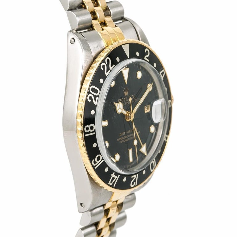 Rolex GMT-Master 16753 Vintage Men's Automatic Watch Black Dial Two-Tone In Good Condition In Miami, FL