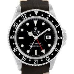 Rolex GMT Master Black Bezel Leather Strap Steel Men's Watch 16700
