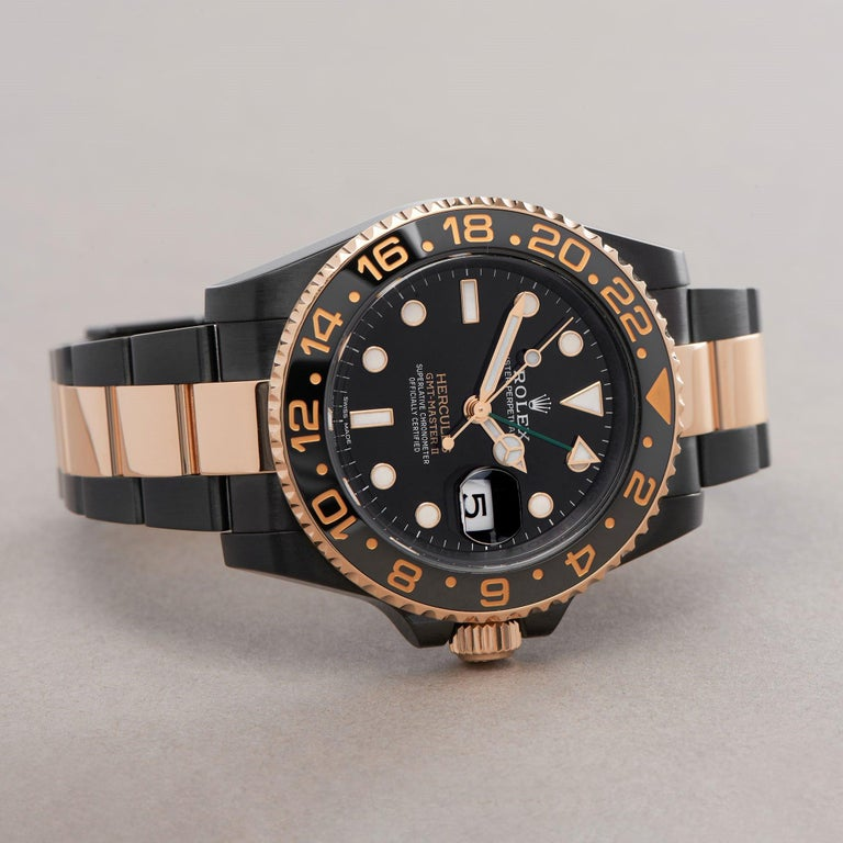 Rolex GMT-Master II 0 116713LN Yellow Gold & DLC Stainless Steel Hercules Watch For Sale 1