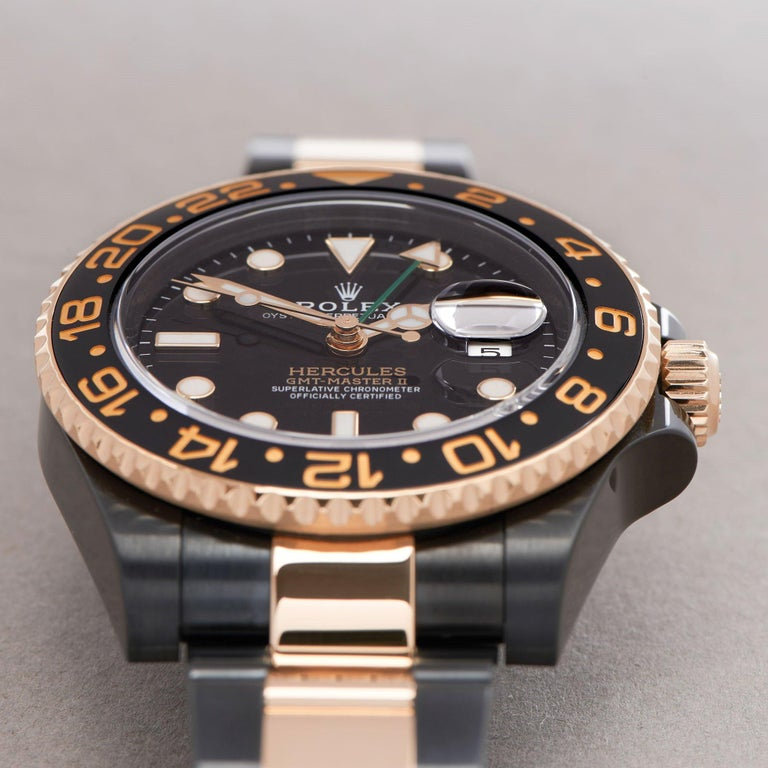 Rolex GMT-Master II 0 116713LN Yellow Gold & DLC Stainless Steel Hercules Watch For Sale 4