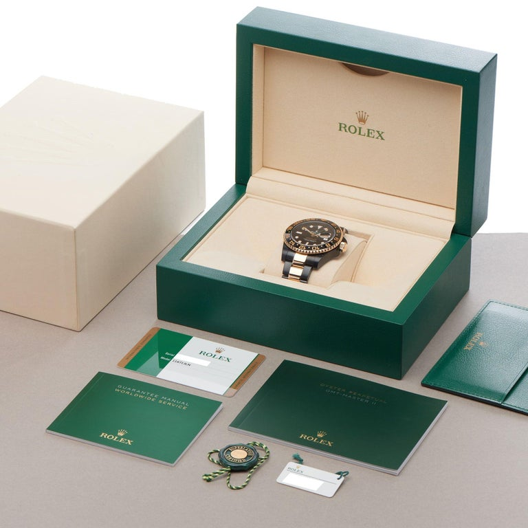Rolex GMT-Master II 0 116713LN Yellow Gold & DLC Stainless Steel Hercules Watch For Sale 5