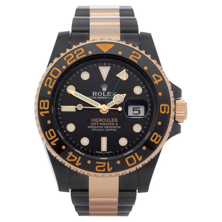 Rolex GMT-Master II 0 116713LN Yellow Gold & DLC Stainless Steel Hercules Watch For Sale