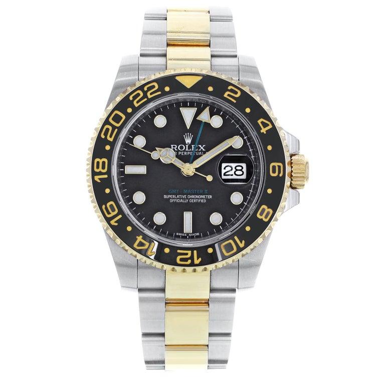 Rolex Gmt Master Ii 116713 Two Tone Black Steel 18 Karat Gold Men S