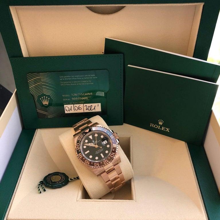 Rolex GMT-Master II 126715 Rootbeer 18k Everose Gold Ceramic Vintage Bezel Watch For Sale 5