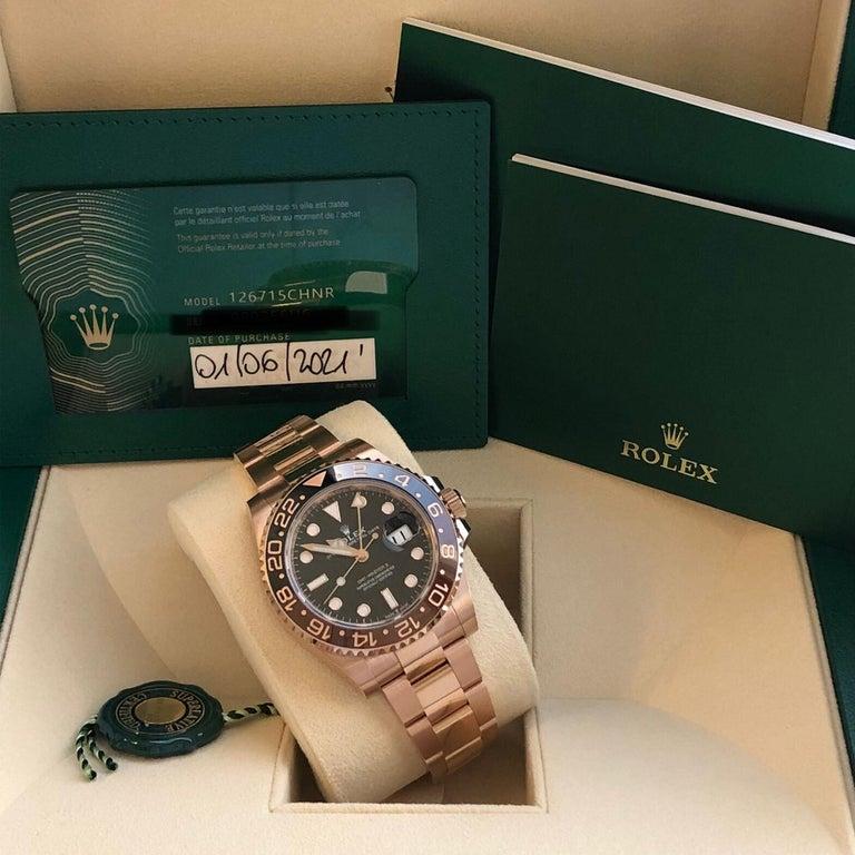 Rolex GMT-Master II 126715 Rootbeer 18k Everose Gold Ceramic Vintage Bezel Watch For Sale 6