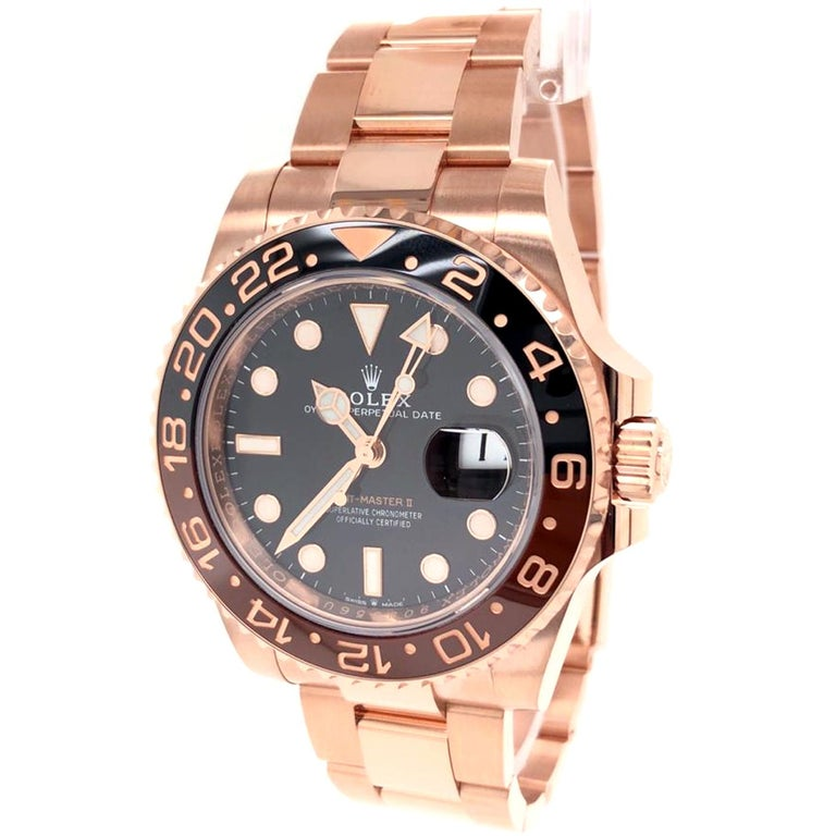 Modernist Rolex GMT-Master II 126715 Rootbeer 18k Everose Gold Ceramic Vintage Bezel Watch For Sale