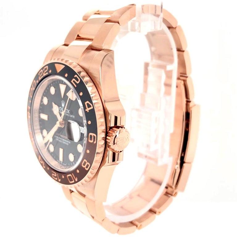 Rolex GMT-Master II 126715 Rootbeer 18k Everose Gold Ceramic Vintage Bezel Watch For Sale 2