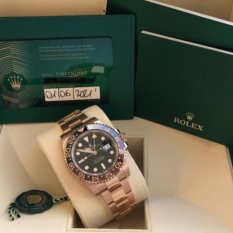 Rolex GMT-Master II 126715 Rootbeer 18k Everose Gold Ceramic Vintage Bezel Watch For Sale 3