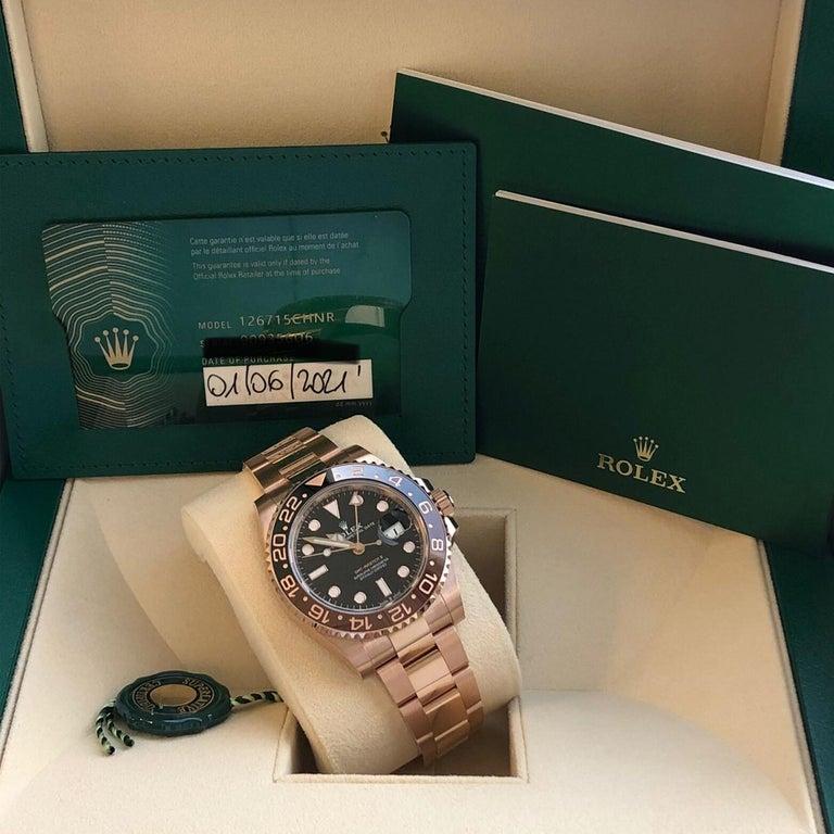 Rolex GMT-Master II 126715 Rootbeer 18k Everose Gold Ceramic Vintage Bezel Watch For Sale 4