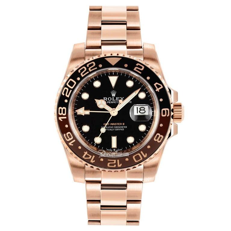 Rolex GMT-Master II 126715 Rootbeer 18k Everose Gold Ceramic Vintage Bezel Watch For Sale