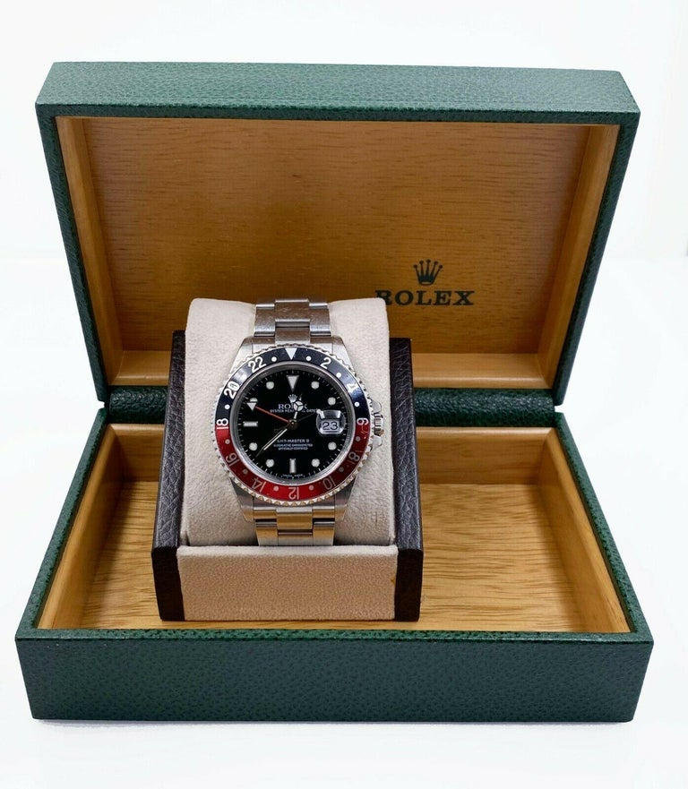 Women's or Men's Rolex GMT Master II 16710 Black and Red Coke Stainless Unpolished with Box For Sale