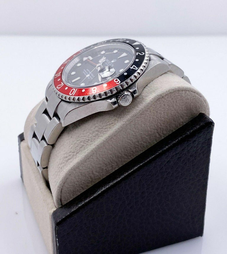 Rolex GMT Master II 16710 Black and Red Coke Stainless Unpolished with Box For Sale 1
