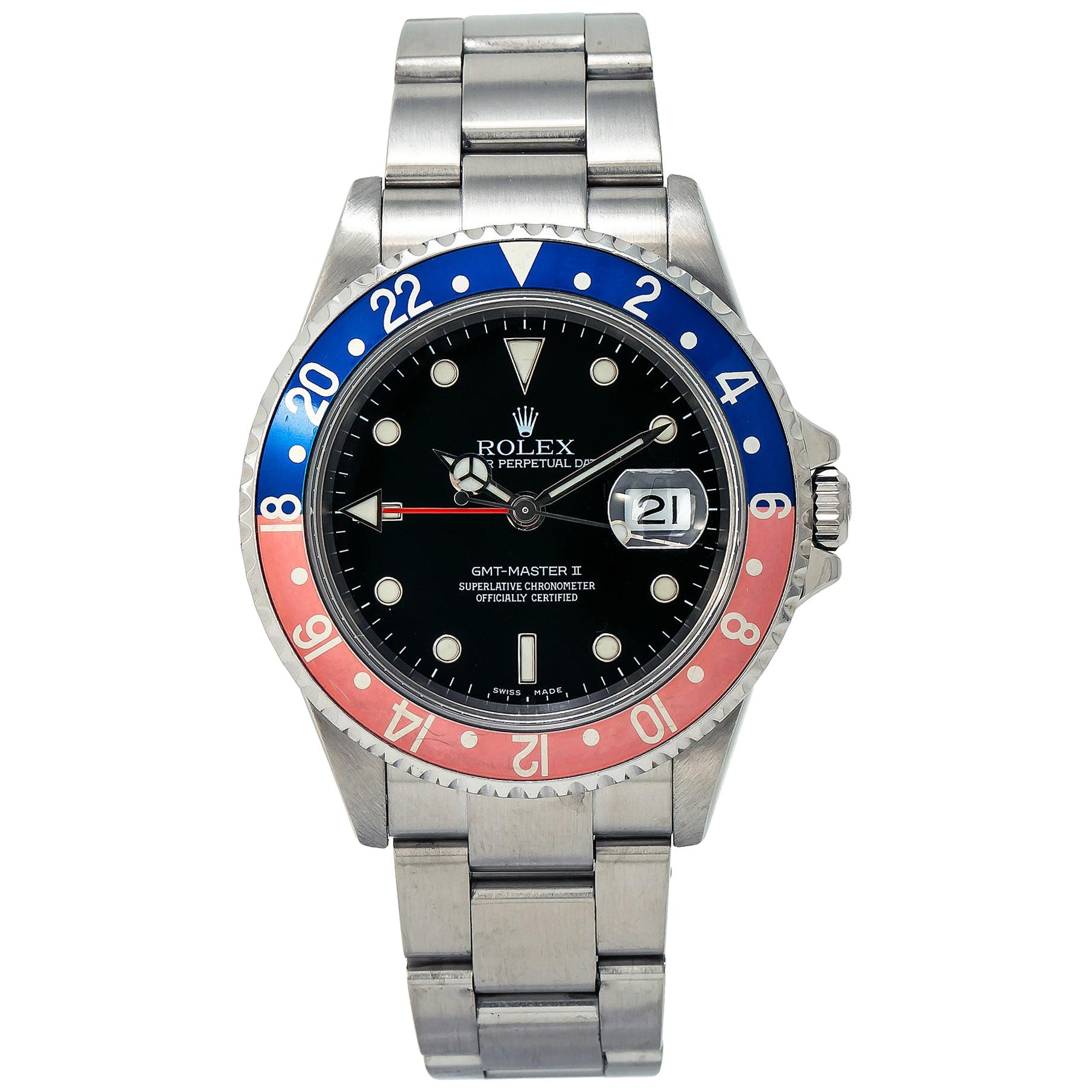 Rolex GMT-Master II 16710T Pepsi Men's Automatic Watch Stainless Black Dial