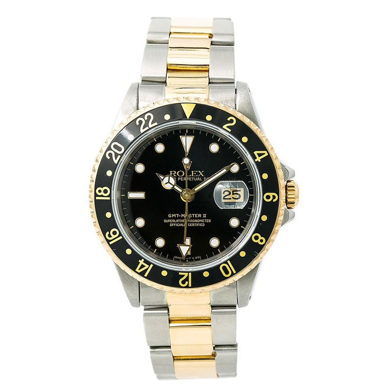Rolex Gmt Master Ii 16713 Men S Automatic Watch Two Tone Gold Buckle